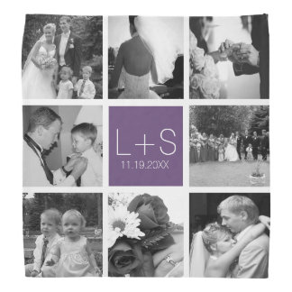 Create Your Own Wedding Photo Collage Monogram Bandana