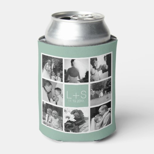 Create Your Own Wedding Photo Collage Monogram Can Cooler