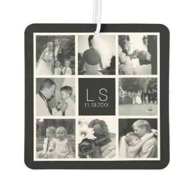 Create Your Own Wedding Photo Collage Monogram Car Air Freshener