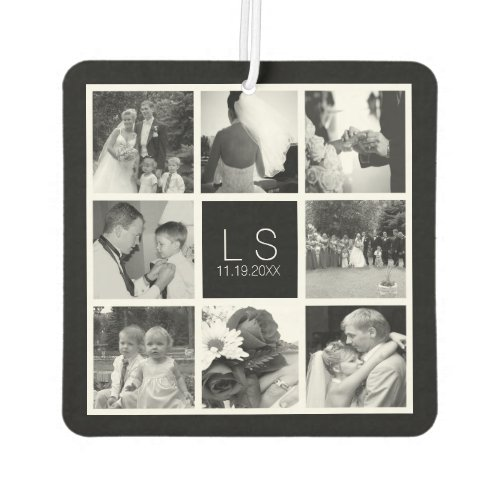 Create Your Own Wedding Photo Collage Monogram Car Air Freshener