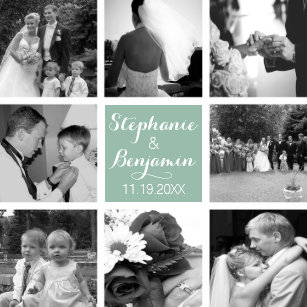 cbed4274df437 Create Your Own Wedding Photo Collage Monogram Ceramic Tile