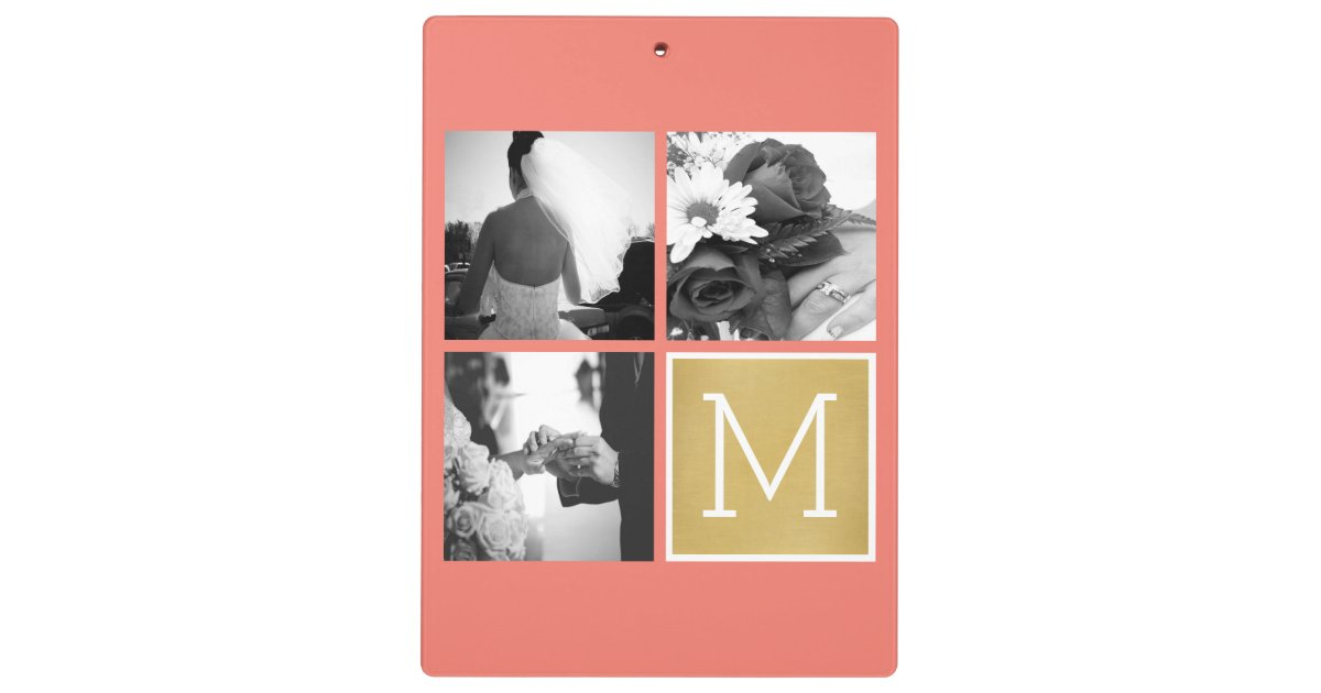 Create Your Own Wedding Photo Collage Monogram Clipboard