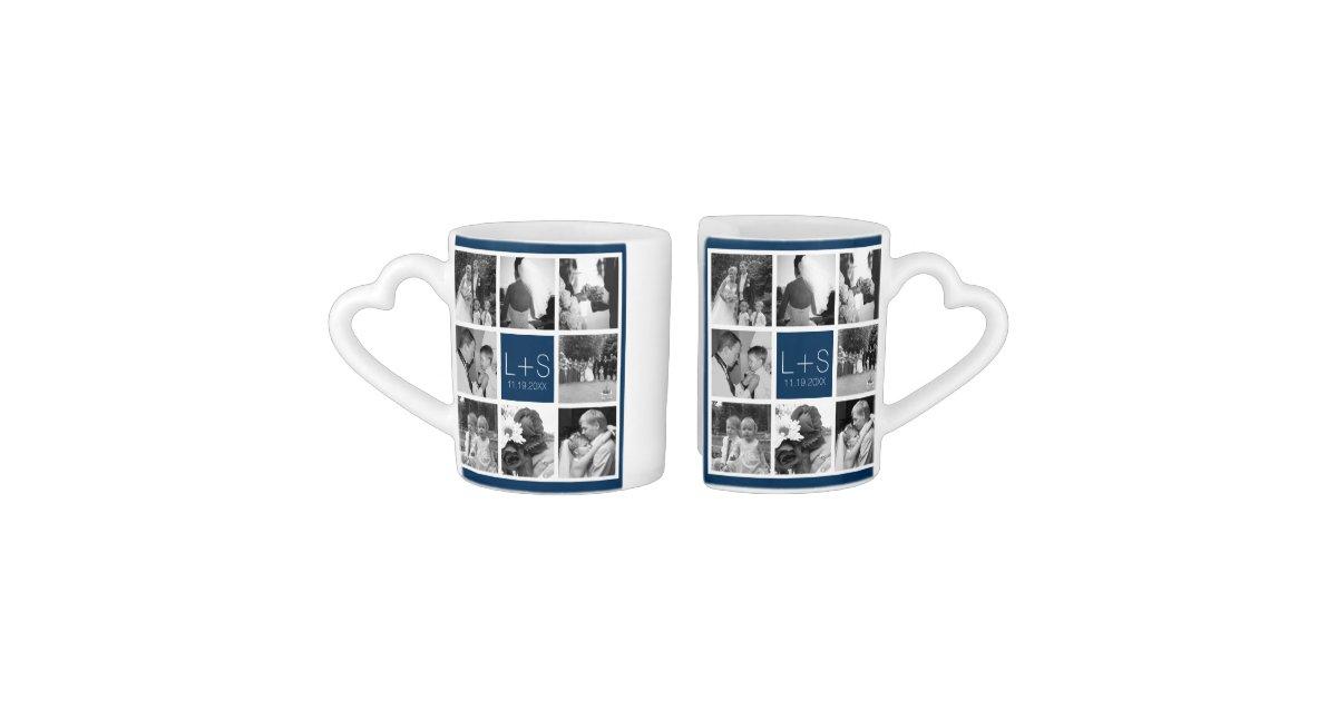 Create Your Own Wedding Photo Collage Monogram Coffee Mug