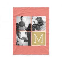 Create Your Own Wedding Photo Collage Monogram Fleece Blanket