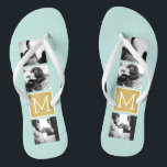 """Create Your Own Wedding Photo Collage Monogram Flip Flops<br><div class=""""desc"""">2015 colors of mint and gold foil print background - Use 3 square photos to create a unique and personal anniversary gift. Add the bride and groom's initials. If you need to adjust the pictures or monograms,  click on the customize tool to make changes.</div>"""