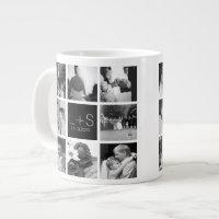 Create Your Own Wedding Photo Collage Monogram Giant Coffee Mug