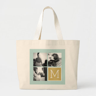 Create Your Own Wedding Photo Collage Monogram Jumbo Tote Bag