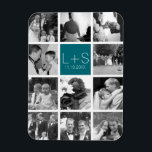 "Create Your Own Wedding Photo Collage Monogram Magnet<br><div class=""desc"">Teal Blue and White background - Use 11 square photos to create a unique and personal anniversary gift. Add the bride and groom&#39;s initials and date. If you need to adjust the pictures or monograms,  click on the customize tool to make changes.</div>"
