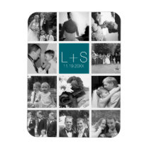 Create Your Own Wedding Photo Collage Monogram Magnet