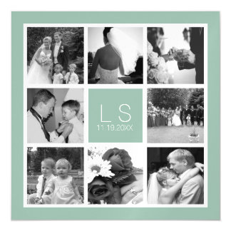 Create Your Own Wedding Photo Collage Monogram Magnetic Card