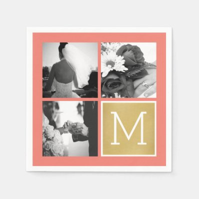 Create Your Own Wedding Photo Collage Monogram Napkin