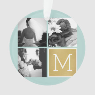Create Your Own Wedding Photo Collage Monogram Ornament