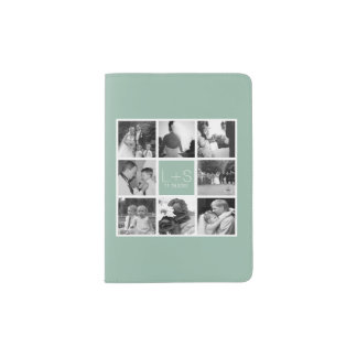 Create Your Own Wedding Photo Collage Monogram Passport Holder