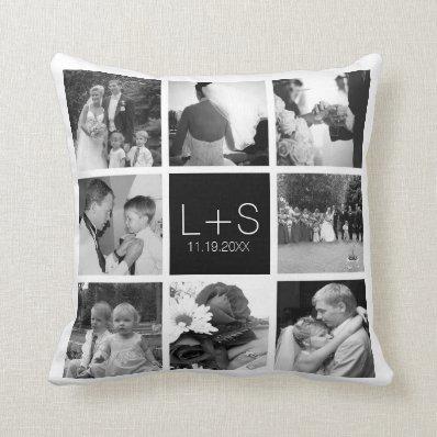 Create Your Own Wedding Photo Collage Monogram Throw Pillows