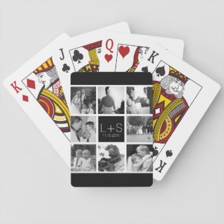 Create Your Own Wedding Photo Collage Monogram Playing Cards