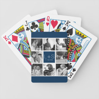 Create Your Own Wedding Photo Collage Monogram Bicycle Playing Cards