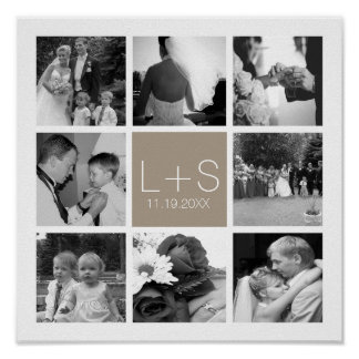 Create Your Own Wedding Photo Collage Monogram Poster