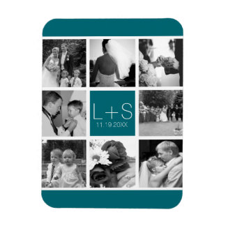Create Your Own Wedding Photo Collage Monogram Rectangle Magnets