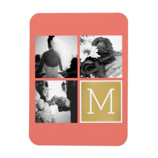 Create Your Own Wedding Photo Collage Monogram Rectangular Photo Magnet