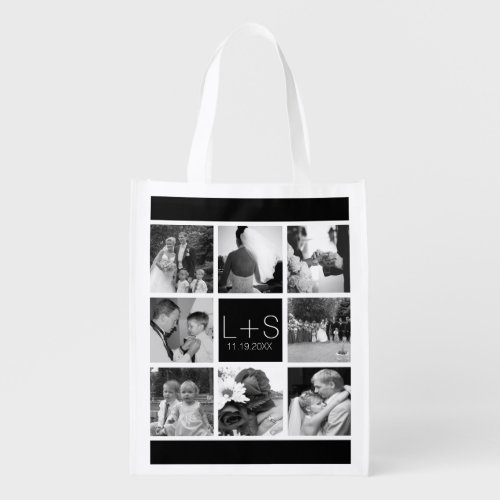 Create Your Own Wedding Photo Collage Monogram Reusable Grocery Bag