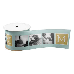 Create Your Own Wedding Photo Collage Monogram Satin Ribbon