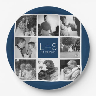 Create Your Own Wedding Photo Collage Monogram 9 Inch Paper Plate