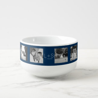 Create Your Own Wedding Photo Collage Monogram Soup Mug