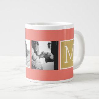 Create Your Own Wedding Photo Collage Monogram 20 Oz Large Ceramic Coffee Mug