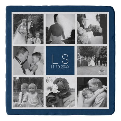 Create Your Own Wedding Photo Collage Monogram Trivet