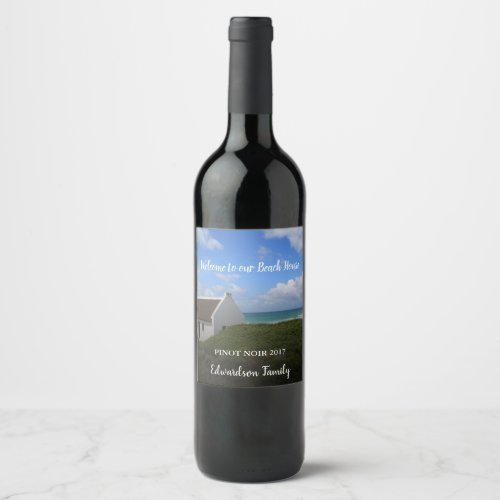 Create your own welcome family beach summer house wine label