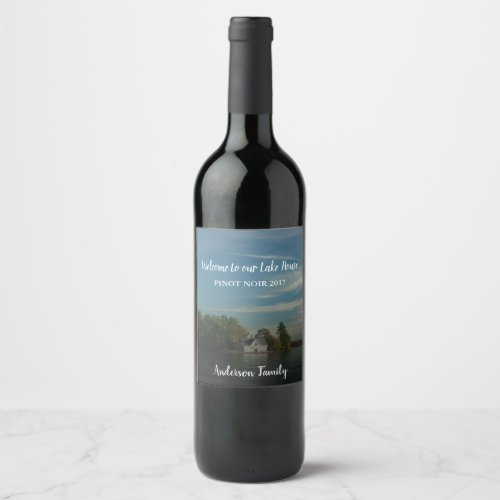 Create your own welcome family lake summer house wine label