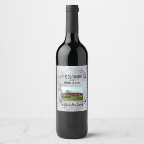Create your own welcome to mountain lodge family wine label