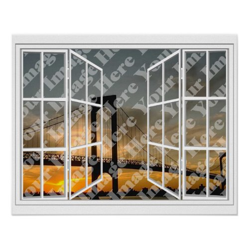 Create Your Own White 24 Pane Open Window Poster