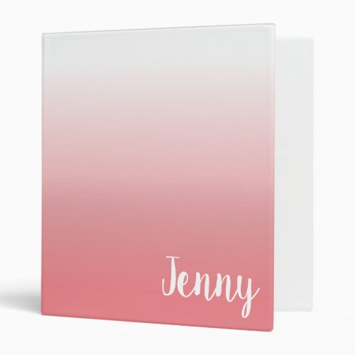 Create Your Own White Ombre Personalized 3 Ring Binder