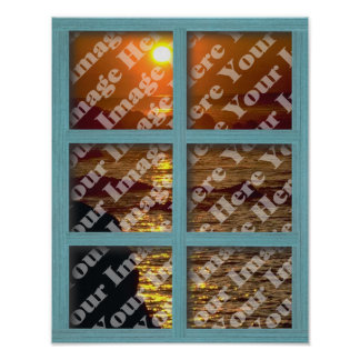 Create Your Own Window With Green 6 panel Frame Print
