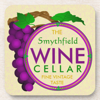 Create Your Own Wine Cellar Grapes Personalized Drink Coaster