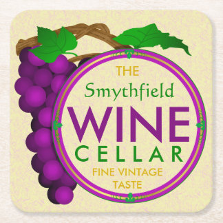 Create Your Own Wine Cellar Grapes Personalized Square Paper Coaster