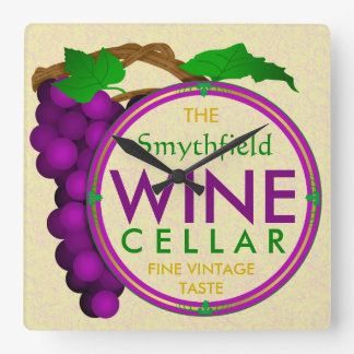 Create Your Own Wine Cellar Grapes Personalized v1 Square Wallclock