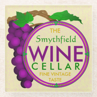 Create Your Own Wine Cellar Personalized Grapes Glass Coaster