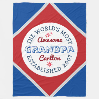 Create Your Own World's Most Awesome Grandpa Logo Fleece Blanket