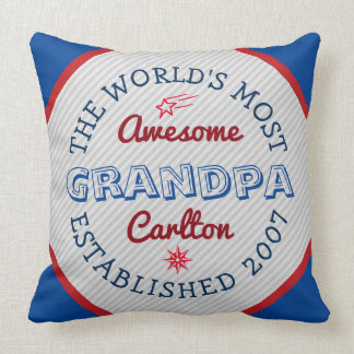 Create Your Own World's Most Awesome Grandpa Logo Throw Pillow