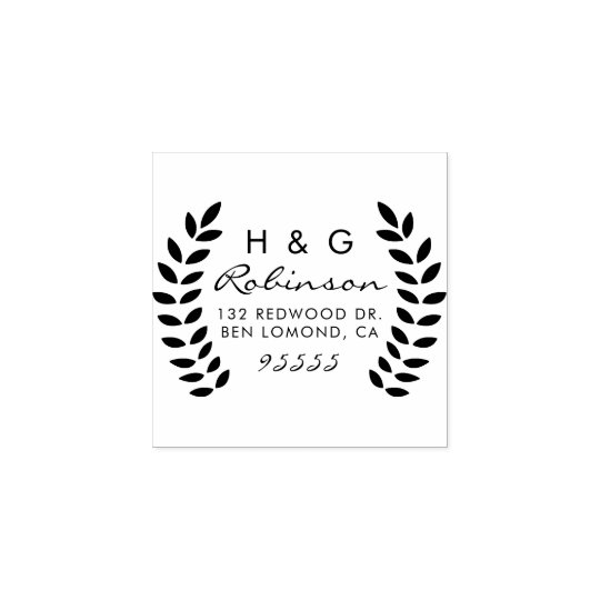 Design Your Own Rubber Stamp: Create Your Own Wreath Initials Return Address Rubber