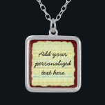 """Create Your Own Yellow Lined Paper Silver Plated Necklace<br><div class=""""desc"""">This design shows a lined, slightly crumpled yellow notebook / notepad page background. It has blue lines and is made to look crinkled. Over it, you can add your own name or other text using the template or click &quot;Customize It&quot; to move / resize text or change font. The background...</div>"""