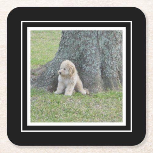 Create Your Own Your Photo Template Black  White Square Paper Coaster