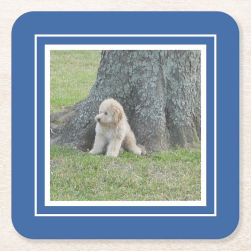 Create Your Own Your Photo Template Blue  White Square Paper Coaster
