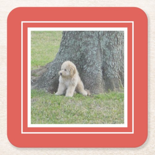 Create Your Own Your Photo Template Coral  White Square Paper Coaster