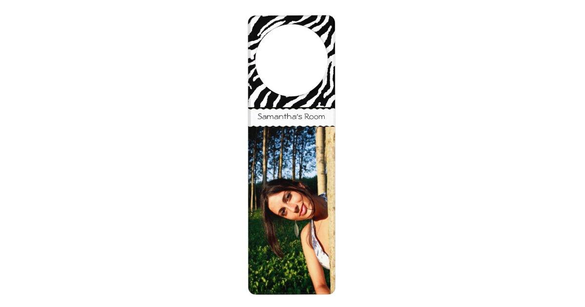 Create your own zebra pattern custom door hanger zazzle for Create your own door