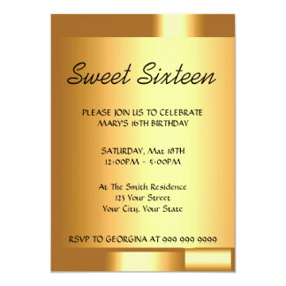 Create Your Sweet 16 Gold Invitation