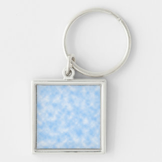 Created Blue and White Clouds Design Keychain