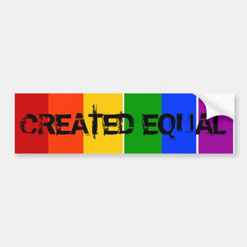 CREATED EQUAL GAY LGBT RAINBOW BUMPER STICKER
